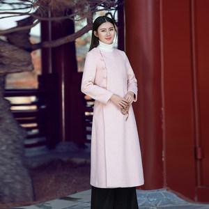 薄款<span class=H>呢大衣</span>女春季新款外套中长款中国风复古文艺中式汉服禅意茶服