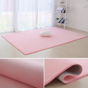 短毛珊瑚绒小<span class=H>地毯</span>卧室满铺家用客厅茶几垫子纯色榻榻米地垫长方形