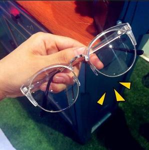 个性透明<span class=H>眼镜</span>框女近视韩国原宿白色复古平光椭圆<span class=H>装饰</span>眼睛架<span class=H>搭配</span>师