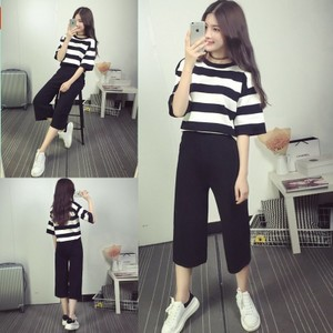 日本购夏装新款韩版阔腿裤<span class=H>两件套</span>装学院风潮夏一套衣服女学生