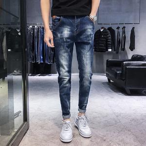 2019牛仔裤男青年弹力修身<span class=H>小脚裤</span>子韩版时尚复古直筒做旧春夏款潮