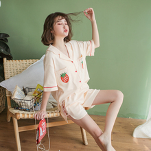 Sleepwear Female Summer Cotton Short Sleeve Short Pants Slim Strawberry Lovely Student Summer Home Clothes Two Suits