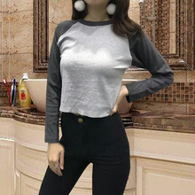 Early Autumn New American T-shirt with umbilical collar, high waist, long sleeve, leaky umbilical cord, short Baseball Shirt for students and girls