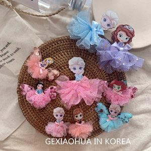 韩国进口公主木质儿童<span class=H>发夹</span>刘海夹女童宝宝发饰纱球公主艾莎<span class=H>发夹</span>女