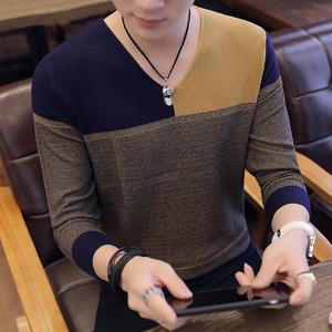 青年时尚新款个性V领针织衫毛衣