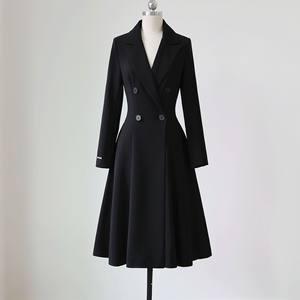 2019春装新款版型非常好优雅修身显瘦裙摆双排扣中长款风衣外套