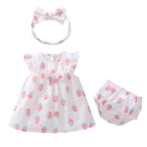 19年宝宝夏季新款<span class=H>连衣裙</span>套装 女童粉色飞袖纯棉樱草莓印花背心裙3
