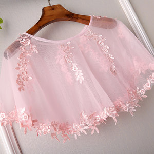 新款粉色蕾丝小外套 短款百搭时尚宽松 套头<span class=H>斗篷</span>披肩外搭薄款外搭