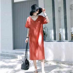 JM <span class=H>连衣裙</span>女夏2019新款极简主义露背宽松显瘦开叉慵懒风红色T恤裙
