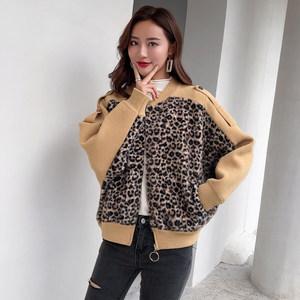 新款蝙蝠袖中长款慵懒风豹纹水貂绒皮毛一体上衣宽松针织韩版外套