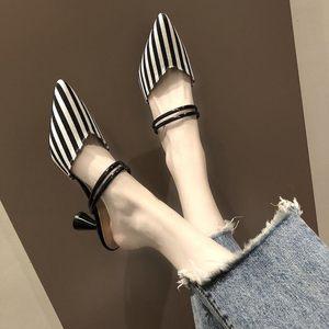 时尚韩版半拖穆勒鞋中跟网红懒人松糕带钻包头高跟凉拖女夏款小白