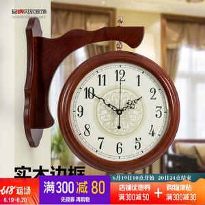 实木美式双面挂钟两面钟表客厅创意<span class=H>挂表</span>复古静音装饰家用欧式时钟