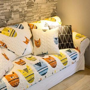 莫耐河 米色纸老虎北欧卡通个性全棉布艺沙发垫盖巾套防滑定制