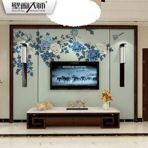 新中式背景墙<span class=H>壁纸</span>小清新无纺布墙纸浅色仿古整张防水壁画壁布牡丹