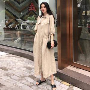 包邮衬衫连衣裙女夏季韩版Polo领单排扣半袖中长款裙子宽松显瘦大