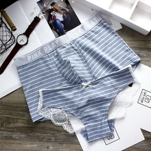 Literary striped young couple pants Sexy lace Lady's triangular underwear cotton breathable waist men's flat pants