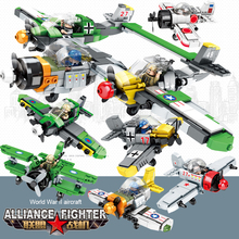 Building Block Model of World War II Military Aircraft Assembling Intelligent Boys and Children's Toy Air Force of 6-10 Years Old