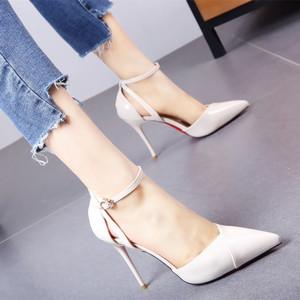 欧美性感一字扣带气质<span class=H>高跟鞋</span>2019早春新款时尚简约显瘦单鞋女黑色