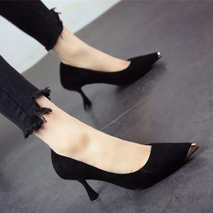 2019春季<span class=H>高跟鞋</span>女细跟欧美金属尖头性感女单鞋浅口黑色通勤工作鞋