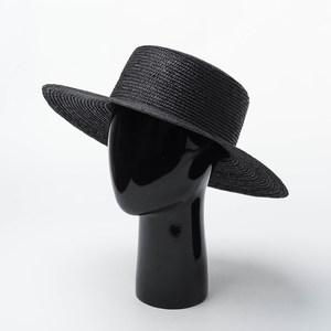 春夏新品平顶平沿黑色<span class=H>草帽</span>休闲百搭复古麦秆编织帽出游遮阳沙滩帽