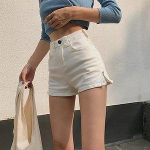 夏季女装韩版复古高腰修身弹力显瘦A字侧拉链牛仔短裤阔腿裤热裤