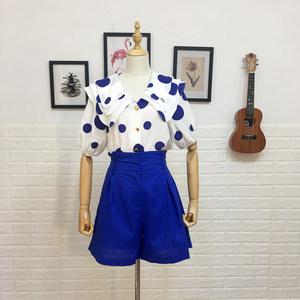 胖MM洋气套装女夏装新品露锁骨娃娃衫衬衣配高腰短裤显瘦两件套
