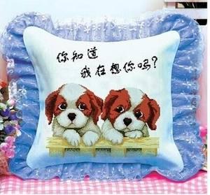 十字绣抱枕新款平价精准印花情侣两只小狗靠垫客厅卡通动漫包邮