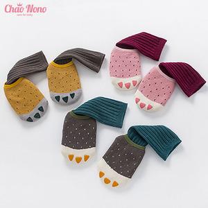 婴儿船袜可爱小爪子造型宝宝袜纯棉男女儿童袜子春秋季胶底防滑袜