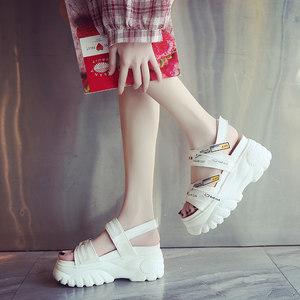8cm运动凉鞋女生夏季仙女风厚底增高厚底坡跟百搭松糕鞋罗马鞋女