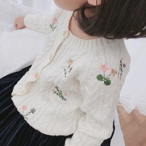 Cicie童装春装2019新款儿童棉线洋气绣花毛衣外套女童<span class=H>开衫</span>针织衫