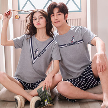 Summer 2019 Women's Cotton Large-Size Cartoon Couple Nightwear Short-sleeved Women's Nightwear Home Suit Korean Version