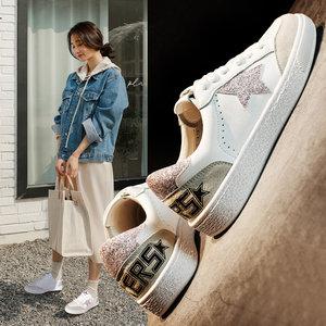 小白鞋女2019春季新款<span class=H>女鞋</span>韩版基础百搭平底板鞋星星网孔休闲鞋女