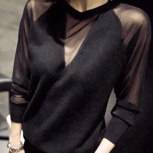 2017秋冬季新款时尚韩版蕾丝打底衫女士黑色长袖百搭网纱针织毛衣