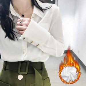CICI 2018春季新款<span class=H>女装</span> 韩版干练特色纽扣修身简约气质加绒衬衫