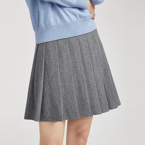 萌大志|毛呢百褶裙女秋冬 学院风双面呢羊毛半身裙 纯色短款<span class=H>伞裙</span>