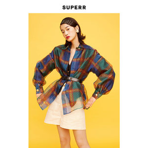 SUPERR vol.5 双色印花欧根纱透明衬衫 防晒罩衫