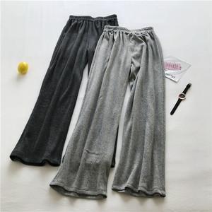 慵懒范杂色针织阔腿裤 <span class=H>加绒</span>拖地裤 个性显瘦加厚长裤女 裤子
