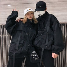 Spring and Autumn Korean version of INS Harajuku jacket female hip-hop black ribbon baseball clothing couples relaxed jacket trend