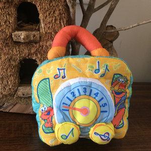 芝麻街带音乐的布书会唱歌撕不破宝宝毛绒玩具公仔娃娃生日礼物