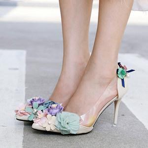 韩版职业优雅女鞋透明显瘦显白细跟高跟尖头鞋花花宴会鞋四季单鞋