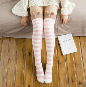 珊瑚绒过膝<span class=H>袜子</span>女加厚保暖睡眠袜夏冬季长筒护腿护膝长袜套月子袜