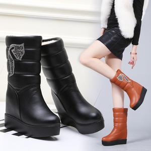 冬季<span class=H>雪地靴</span>女2018新款加厚加绒内增高防水女靴子厚底女鞋中筒棉鞋