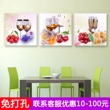 Modern Living Room Restaurant Fruit Decorative Painting Kitchen Perforation-free Wine Cup Creative Triple Painting New Chinese Fresco Clock
