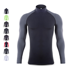 Gymnasium Sports Clothes Men's Running Training Fast Dry Clothes Basketball Football Basketball Bottom T-shirt High-collar Long-sleeved Top
