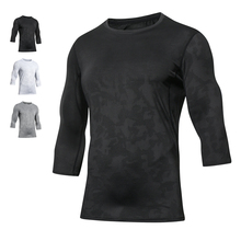 Basketball T-shirt Men's Seven-minute Sleeve Slim Round-collar Top Sports Fitness Fast-drying Clothes Mesh Air-permeable Running Sleeve Summer