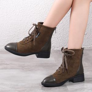 韩版短靴真皮平底女鞋马丁靴秋季中跟单靴圆头百搭短筒牛皮女靴子