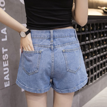C Jeans Shorts Female Xia Baitao Jeans Shorts Spring New Korean Version Loose Student High waist and Slim F0450255