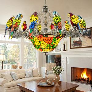 鹦鹉吊灯创意铁艺复古艺术美式欧式吊灯复式楼别墅客厅玻璃吊<span class=H>灯饰</span>