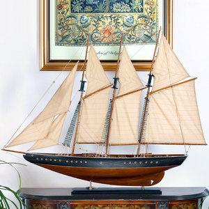 Snnei 帆船模型拼装<span class=H>木船</span>摆件 实木质模型船工艺船一帆风顺1.1米