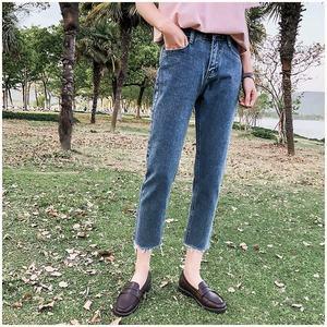 mom jeans欧美复古高腰宽松直筒裤chic港风毛边九分牛仔哈伦裤女